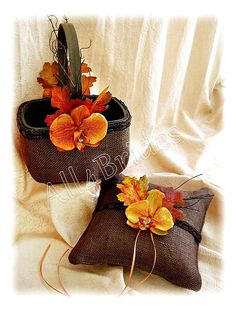 Burlap Wedding Ring Bearer Pillow Flower Girl Basket, Fall Leaves Chocolate Brown Burnt Orange Rustic Weddings