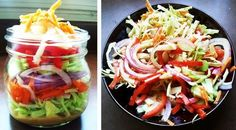 A Profound Hatred of Meat: Cobb & Slaw Salads.in jars! Salad In A Jar, Preserves, Pickles, Delish, Cabbage, Cooking Recipes, Meat, Vegetables, Food