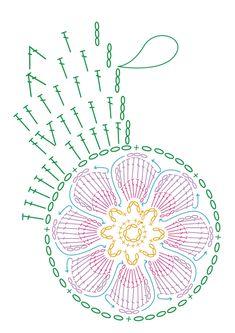 샤이닝 엣지 플라워 수세미 [도안참고] : 네이버 블로그 Chevron Crochet Patterns, Crochet Mandala Pattern, Crochet Circles, Form Crochet, Crochet Round, Crochet Chart, Diy Crochet, Crochet Doilies, Crochet Flowers