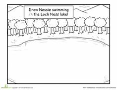First Grade Fairy Tales Worksheets: Draw the Loch Ness Monster Monster Activities, Monster Crafts, Classroom Activities, Book Activities, Activity Books, Scottish Festival, Cultural Crafts, Monster Drawing, World Thinking Day