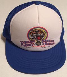 f20e11e4a0a Vtg Ringling Bros Barnum Bailey Trucker Hat M L Circus Greatest Show Earth  1984
