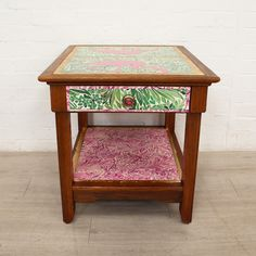 Flamingo Themed Vintage American Oak side Table | Recover Team Shop Up, Gold Gilding, Decoupage Paper, Upcycled Furniture, Household Items, Flamingo, Upholstery, Furniture Design, New Homes