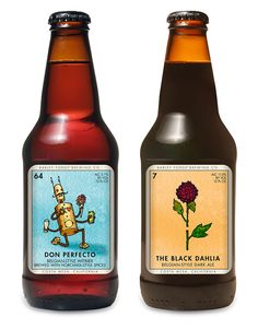 The labels for Costa Mesa, CA's Barley Forge Brewing Co. were inspired by the Mexican card game Loteria and designed by brewery co-founder Dave Stolte. Beverage Packaging, Bottle Packaging, Coffee Packaging, Food Packaging, Brewing Co, Home Brewing, Beer Art, More Beer, Beer Cooler
