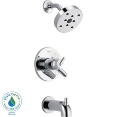Delta Trinsic Single Handle 1-Spray Tub and Shower Faucet Trim in Stainless (Valve not included)-T17459-SS at The Home Depot