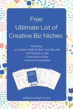 Get hundreds of ideas for your creative business niche by doing mix n match with this ultimate list of creative skills, products, and services. Plus workbook to help you start now. - We Bloom and Grow - webloomandgrow.com