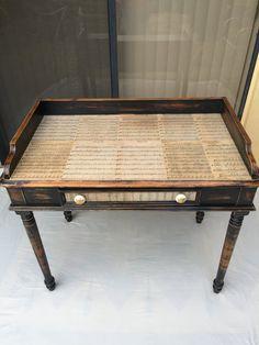 Decoupaged Desk. One Drawer Writing Desk. Computer Desk. Wood Entry