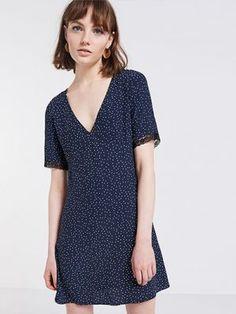 <p>Navy Spot Print Tea Dress</p>