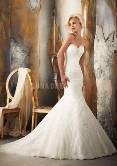 Luxury Tulle Sweetheart Mermaid Sleeveless Floor Length Wedding Dresses