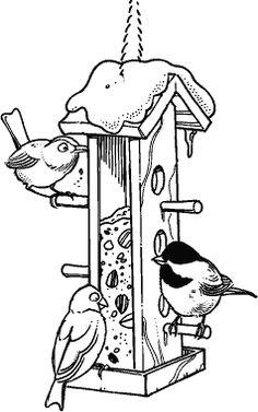 Картинка кормушка с птицами зимой раскраска