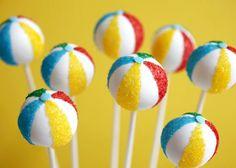 Bouncing Beach Ball Cake Pops