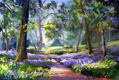 Resultado de imagen de paintings of bluebell meadows Watercolor Landscape Paintings, Landscape Drawings, Landscape Art, Landscapes, Pictures To Paint, Tree Art, Oeuvre D'art, Painting Prints, Floral