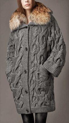 Oversized Wire Knit Grey Cardigan