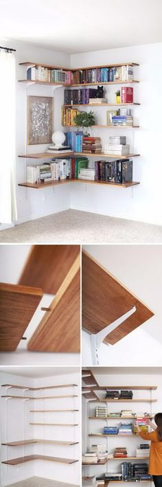 Unbelievable Tips Can Change Your Life: Industrial Floating Shelves Kitchen Designs staggered floating shelves kitchen.Black Floating Shelf Above Bed floating shelves living room with mirror.Floating Shelves For Tv Diy. Diy Corner Shelf, Floating Shelves Bathroom, Regal Design, Shelf Design, Small Apartments, Wall Shelves, Bedroom Shelves, Book Shelves, Home Projects
