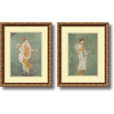 Pompeian 'Primavera & Diana- set of 2' Framed Art Print 15 x 19-inch Each