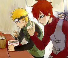 Sand Siblings, Temari, Kankuro, Gaara, Naruto, ramen, eating, Ichirakus, funny; Naruto