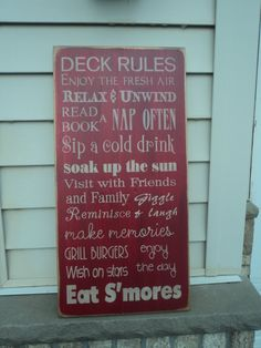 Zissman de Munck Morton Want! Vintage Style Porch, backyard, Deck, Patio Rules Typography Word Art Sign via Etsy - someday, I think I will need this. Outside Living, Outdoor Living, Outdoor Decor, Outdoor Projects, Home Projects, Deck Patio, Backyard, New Deck, Deck Decorating