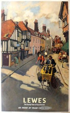 Lewes Sussex British Railways Cuneo, 1955 - original vintage poster by Terence Cuneo listed on AntikBar.co.uk