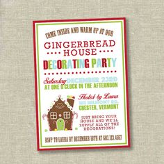 1000 images about merry christmas on pinterest Gingerbread house decorating party invitations