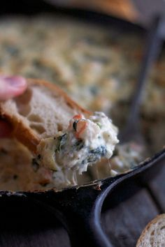 This Baked Spinach Artichoke Dip recipe includes SHRIMP and let me tell you it's a game changer. Dip with toasted bread, crackers or veggies! Appetizer Dips, Yummy Appetizers, Appetizer Recipes, Party Dip Recipes, Shrimp Recipes, Baked Spinach Artichoke Dip, Shrimp Dip, Shrimp Dishes, Everyday Food