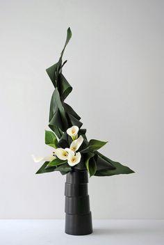 Ikebana moderne par Thai Thomas Mai Van (Artcraft) par Thai Mai Van J'ai créé ce sculpture en végétaux par le technique de manipulation des feuilles d'Aspidistras en association avec des Arums et des Anthuriums sur un vase céramique contemporain