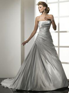 Strapless empire waist A-line satin wedding dress