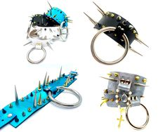 """1. Spiked Ringleader - Metallic BlueHand cut leather choker with spikes and 3"""" diameter nickel plate steel ring, one large buckle at the centre back to fasten. Thick leather 5.2cm width. ... Thick Leather, Natural Leather, Soft And Gentle, Painting Leather, Metallic Blue, Leather Accessories, Spikes, Precious Metals, Centre"""