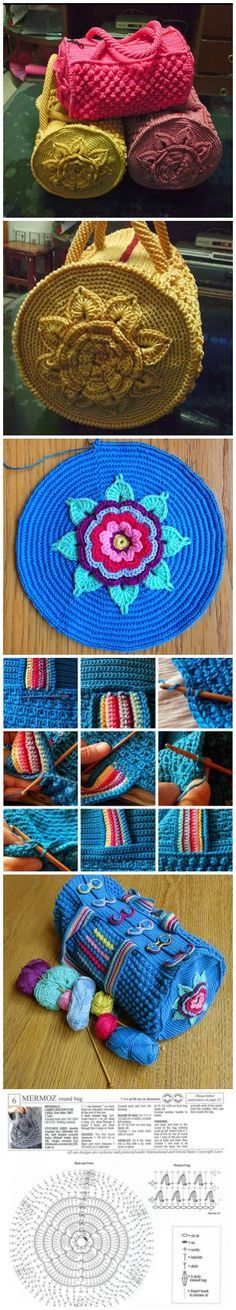 Crochet Patterns Bag Mermoz Round Crochet Bag Is A Free Pattern Bead Crochet, Crochet Crafts, Crochet Hooks, Crochet Projects, Crochet Handbags, Crochet Purses, Crochet Phone Cases, Crochet Mobile, Tapestry Crochet