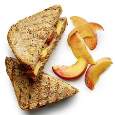 Breakfast        Peachy Almond Panini  Spread 2 slices whole-grain bread with 2 tsp each almond butter; place slices from 1/4 peach between them. Spritz sandwich with 1/2 tsp oil. Grill in a preheated panini press on medium-high until toasted or in a skillet over medium-high heat.