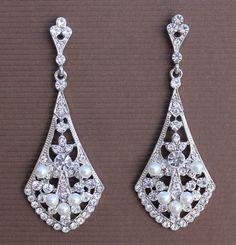 Vintage Bridal Chandelier Earrings by JamJewels1
