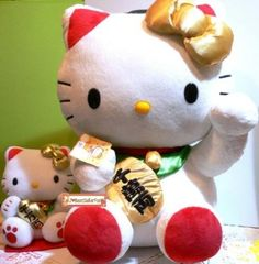 "Amazon.com: Large Sanrio Lucky Fortune Hello Kitty Cat Money Maneki Neko Mascot Plush Doll Toy 18"": Home & Kitchen"