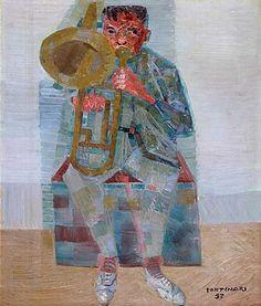 Musician(1957) - Oil on Wood - Candido Portinari.