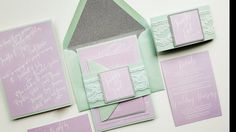 Spring Wedding Invitation sample - Mint Lavender and Silver glitter version {Florence design New Spring Summer 2016 Collection}