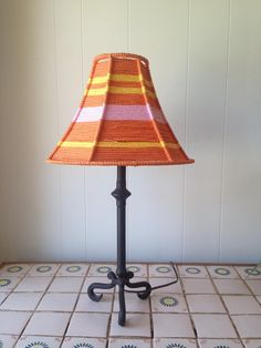 Small macrame lamp shade lamp stand included lamp stands about 1 macrame lamp shade hand wrapped orange pink and yellow polyolefin cord around wire frame greentooth Choice Image