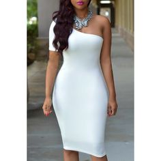 Wholesale Sexy One Shoulder Short Sleeve Solid Color Women's Bodycon Dress Only $3.97 Drop Shipping | TrendsGal.com