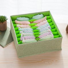 SHEIN offers 8 Compartment Storage Box & more to fit your fashionable needs. Bra Storage, Storage Boxes, Underwear Organization, Closet Organization, Linen Fabric, Cotton Linen, Organiser Box, Decorative Boxes, Organizations