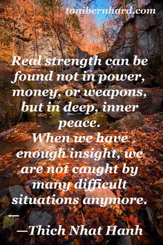 Thich Nhat Hanh: Real strength comes from deep inner peace.
