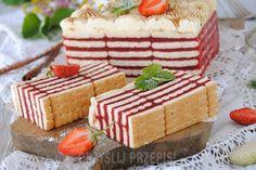 Truskawkowa zebra bez pieczenia - Truskawkowa zebra bez pieczenia Polish Desserts, Cold Desserts, Polish Recipes, Cookie Desserts, No Bake Desserts, Cookie Recipes, Dessert Recipes, Mini Cakes, Cupcake Cakes