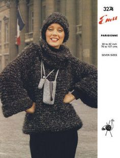 Pullover Sweater with Polo Neck & Hat Vintage Knitting Pattern for download Bust 30-42