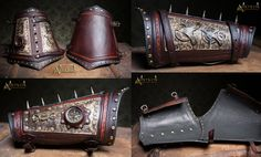 Ornate Steampunk Wrist Cuffs with mechanical pocketwatch, mini Telescope, tooled leatherworks, special antique copper Patina finish , fine nappa leather. Steampunk Wrist cuffs with mechanical Pocketwatch Leather Belt Bag, Leather Tooling, Tan Leather, Diesel Punk, Steampunk Clothing, Steampunk Fashion, Fantasy Craft, Steampunk Design, Leather Projects