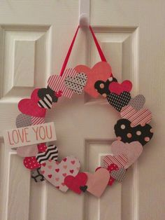Jenny G Paper Crafts: Hearts Blog Hop - Su - Valentine Wreath -  LOVE YOU part of the I DO LOVE YOU stamp from Big on You