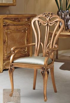From the early a beautifully hand carved dining chair. Art Nouveau Interior, Art Nouveau Furniture, Art Nouveau Architecture, Art Nouveau Design, Classic Furniture, Unique Furniture, Vintage Furniture, Furniture Design, Art Furniture
