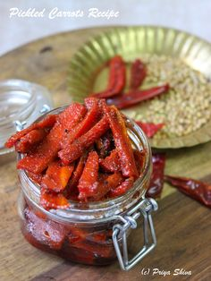 I'm sharing a Pickled Carrots Recipe today as I love pickles and Delhi carrots are still available in the market. Delhi carrots are more tender and juicy. They are darker red and sweeter than… Indian Food Recipes, Vegetarian Recipes, Veg Recipes, Healthy Recipes, Indian Pickle Recipe, Pickled Carrots, Carrot Recipes, Onion Recipes, Instant Recipes