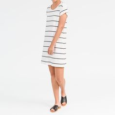 28 degrees here on this Autumn day! Got me feeling all summery again  Wishing I'd worn this today! Cap Sleeve Dress in Ivory with Black Stripe xx