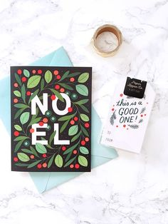 Noel Holiday Card by Paper Raven Co. Proudly illustrated and printed in the USA on 100% Recycled Paper. Send lovely, eco-friendly greetings this year!