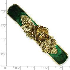 1928 Jewelry - Brass-tone Green Enamel Bar Flower Barrette - picture 11