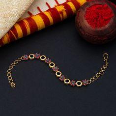 Gemstone Bracelet gms) - Fancy Jewellery for Women by Jewelegance Jewelry Design Earrings, Gold Earrings Designs, Gold Jewellery Design, Diamond Jewellery, Gold And Silver Bracelets, Gold Jewelry Simple, Gold Mangalsutra Designs, Gold Ring Designs, Ruby Bracelet
