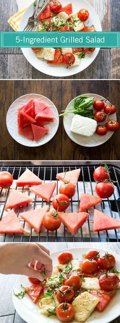 Here's a step-by-step tutorial for making this unique, refreshing, and easy meal: Grilled Watermelon, Halloumi, and Tomato Salad.