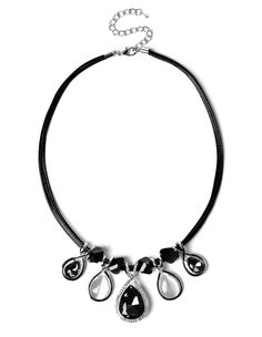 $16.45 Black Teardrop Statement NecklaceBlack Teardrop Statement Necklace, Rhodium/Black/Light Grey