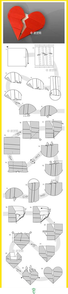 Diagram how-to paper create a Valentine heart!