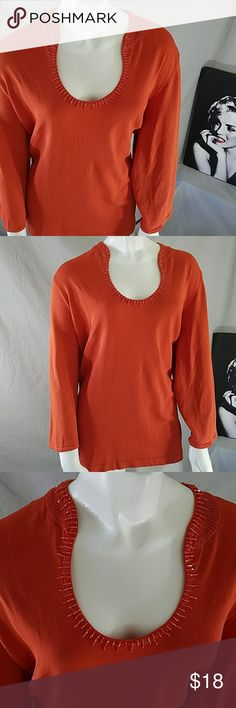 Ohhh the beads around neckline 50 - 54 bust  27 length  20 sleeve Cato Tops Blouses